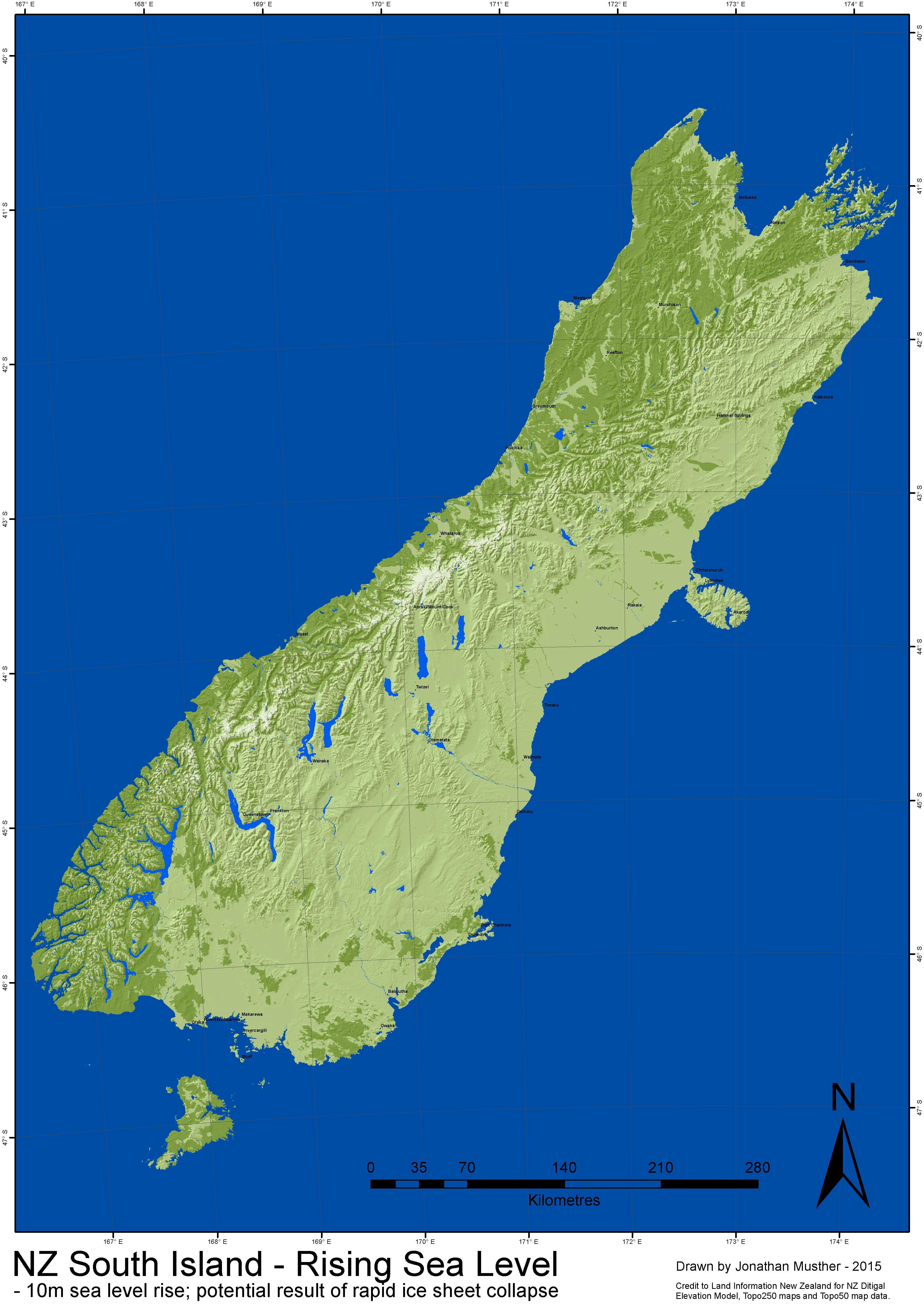 Topographic Map Of New Zealand.Nz Sea Level Rise