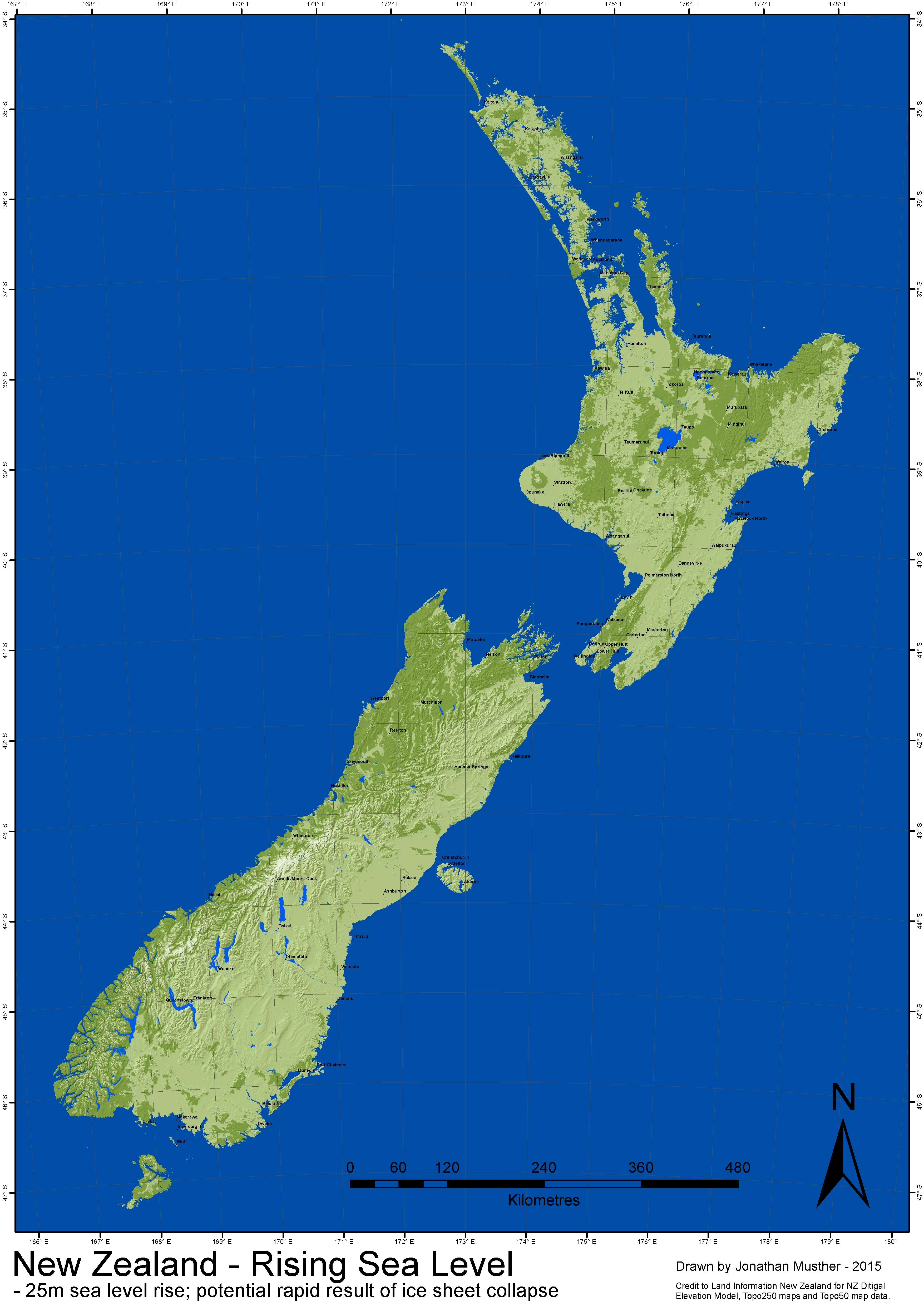 NZ SeaLevel Rise - Sea rising map